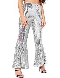 Womens Sexy High Waisted Wide Leg Glitter Sequin Stretchy...