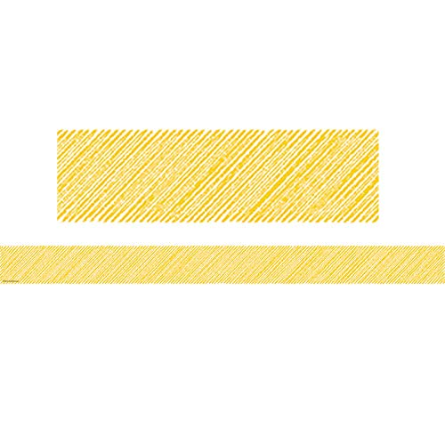 - Teacher Created Resources 3480 Yellow Scribble Straight Border Trim