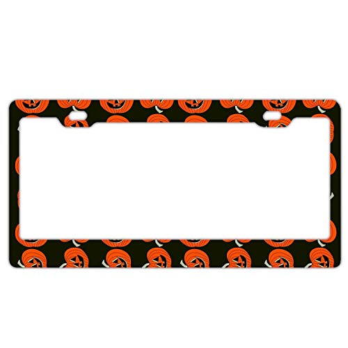KSLIDS Alumina Holiday Halloween Pumpkin License Plate Frame Tag Holder with Screw Cap Covers