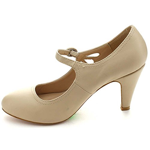 Chase & Chloe Womens Round Toe Mid Heel Mary Jane Pumps-Shoes Pumps Nude FF2kudA