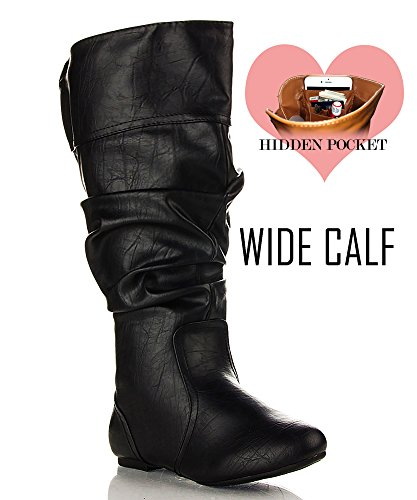 RF ROOM OF FASHION Touched-21 Boots Wide Calf (Black PU Size - Wide Calf Boot