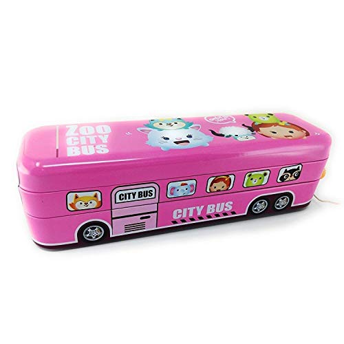 Toys League® Pink Metallic Bus pencil box