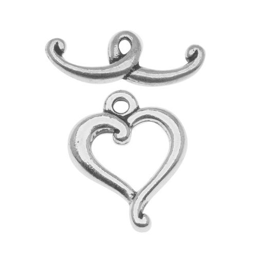 Silver Plated Pewter Scroll Heart Toggle Clasp 14mm (1) (Pewter Heart Toggle)