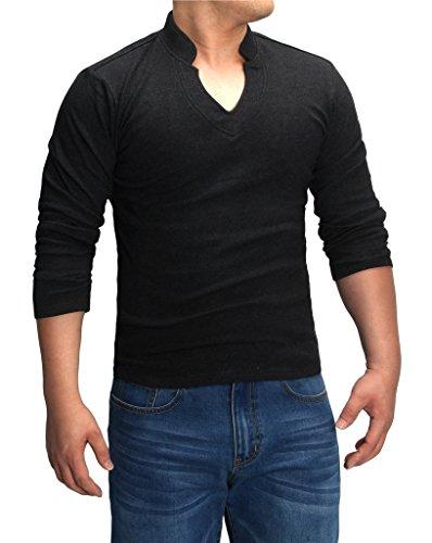4How Mens Casual T-Shirts Long Sleeve V-Neck Tee Black US L (Han Solo Costume Shirt)