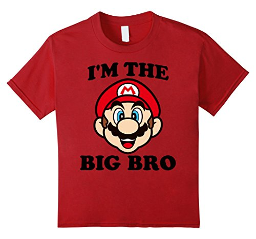 Kids Nintendo Super Mario The Big Bro Face Graphic T-Shirt 4 Cranberry