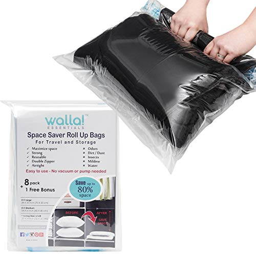Walla Essentials - Travel Space Saver Bags - 8 + 1 Bonus Roll Up Compression Bags for Travel and Storage for Clothes - Easy to Use - No Vacuum or Pump Needed - Reusable Transparent Packing Sacks