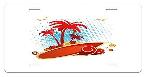 Gull Circle - Beach License Plate by Ambesonne, Exotic Halftone Background with Circles with Palms Seagulls Tropics, High Gloss Aluminum Novelty Plate, 5.88 L X 11.88 W Inches, Vermilion Pale Blue Yellow