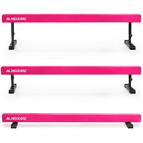 MaxKare Adjustable Balance Beam Gymnastics Training Equipment 8ft Long for Kids & Adults Use (Pink)
