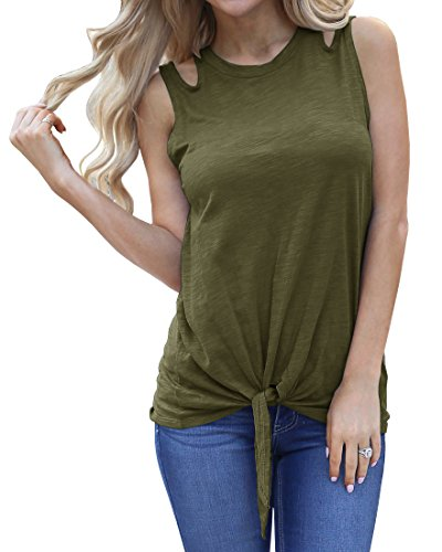Imily Bela Womens Summer Plain Cut Off Shoulder Crew Neck Tees Shirt Cute Tie Front Tank Tops Green