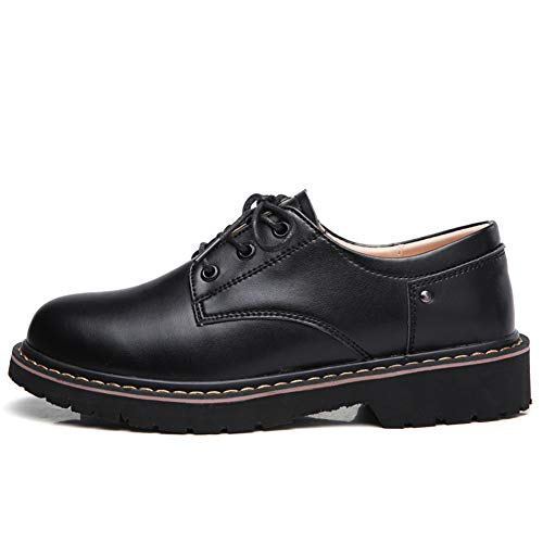 Top Vamp Oxfords Suede Womens Low leather Lace 031 Shoes Toe Casual Round Leather Black up Sneakers wZqUHzZ