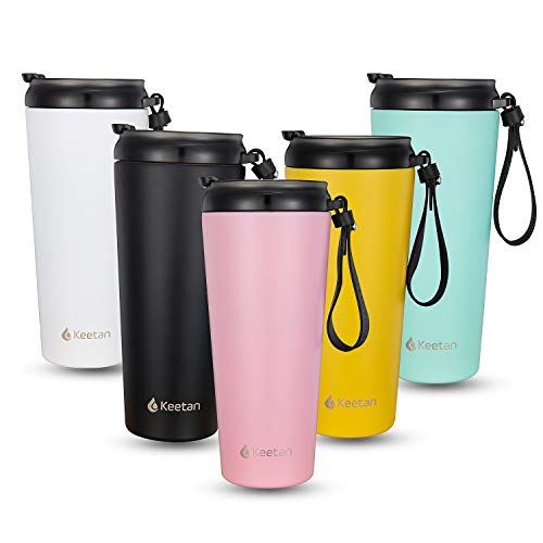 Double Walled Stainless Steel Coffee Cup with Lid Vacuum Insulated Tumbler Bottles 18oz Travel Mug with Black Leather Lanyard -  Keetan, M-PK