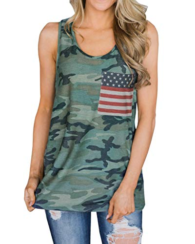 Beautife Womens Summer Sleeveless Camouflage Tank Tops Casual American Flag Print Camo Racerback T Shirts