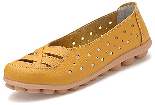 bb95fa75 Fangsto Kvinners Skinn Loafers Flats Sandaler Slipon Gul ...