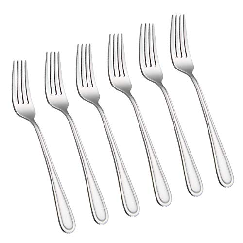6-Piece Dinner Forks Set 4 Tines Table Fork Flatware Stainless Steel Mirror Polishing (Silver, 6pcs-Round handle)