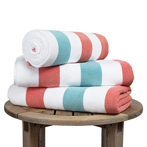 Oversize Plush Cabana Towel by Laguna Beach Textile Co | Coral and Sea Glass | 1 Classic, Beach and Pool House Towel ()