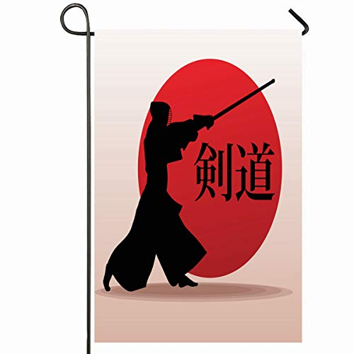 (Ahawoso Outdoor Garden Flag 28x40 Inches Mask Active Kendo Fighter Samurai Sports Combat Recreation Armor Asia Attack Bamboo Design Blade Seasonal Home Decorative House Yard Sign)