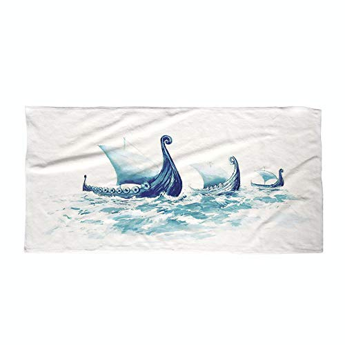 iPrint Cotton Microfiber Beach Towel,War Home Decor,Portrait of Viking Drakkars in Rough Nordic Sea Wood Ships of Scandinavian Ancient,Blue,for Kids, Teens, and Adults by iPrint (Image #3)
