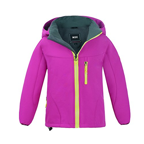 M2C Girls Hooded Waterproof Windbreaker Fleece Lined Softshell Jacket 6/7 ()