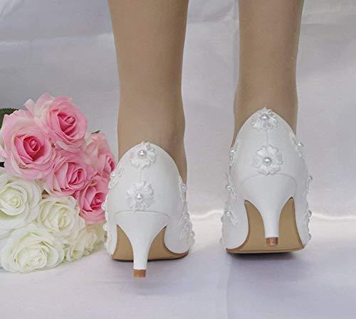 Raso Colore ZHRUI ZHRUI ZHRUI Donna e Sposa Bianco in in in in Borchie da Giarrettiera per Sposa con Dimensione da Pompe rYw6SYTq