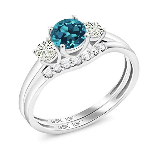 10K White Gold 3-Stone Bridal Set Rings Round London Blue Topaz and Forever Classic Created Moissanite 0.20ct (DEW) by Charles & Colvard (Size 9)