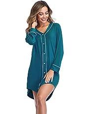 Lusofie Nightgown Women's Long Sleeve Nightshirt Boyfriend Sleep Shirt Button-up Lapel Collar Sleepwear
