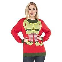 Rubie's 's de los Hombres Rojo Elf Ugly Christmas Sweater