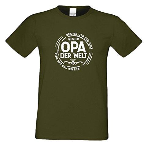 Großvater Fun-T-shirt als Top Geschenk mit GRATIS Urkunde - Bester Opa der Welt Farbe: dunkelgrün Gr: S