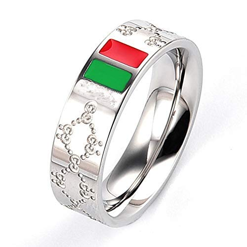 (Fly.Dream Fashion Luxury Shine Celebrity Ring Classic Red and Green Bar Titanium Steel Ring (Silver, 8))
