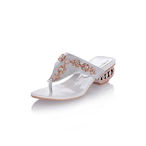 Slippers Rhinestone Womens flops Silver Lucksender Flip Heel Lucksender Mid Womens Wq4x6SwTU1