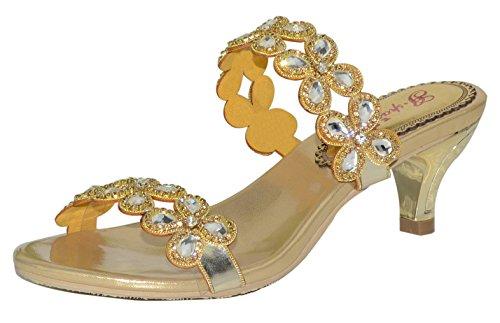 Honeystore Frauen Funkelnde Glitzer Niederiger Absatz Sandalen Pantoffel mit Strass Schuhe Gold