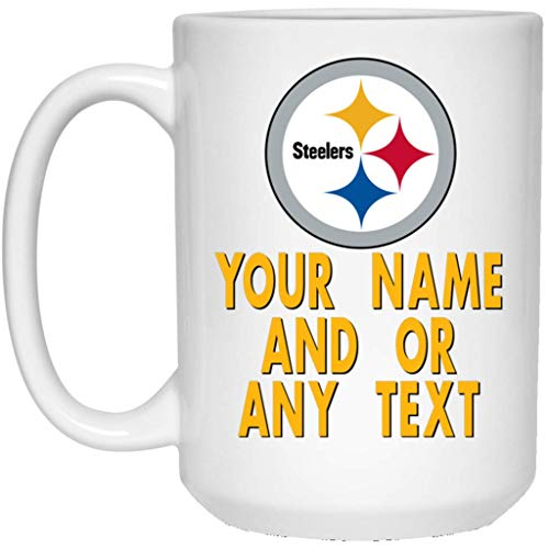 (Custom Personalized Pittsburgh Steelers Coffee Mug Steelers Logo Mug 15 oz White Ceramic Cup Great for Tea and Hot Chocolate NFL AFC National Football League Perfect Gift Idea for any Steelers Fan)
