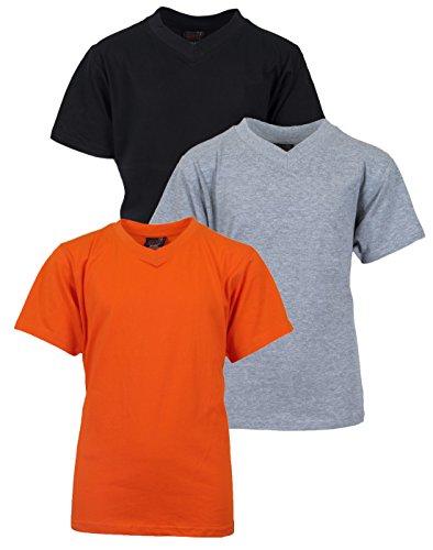 Quad Seven Boys 3-Pack V-Neck Tee Shirts, Size 3T, Black, Heather Grey and Orange