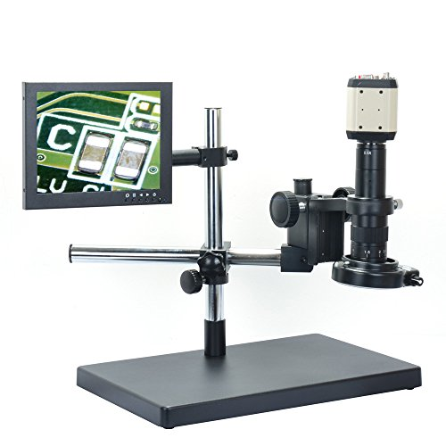 2.0MP Digital Microscope Kit USB VGA AV Industrial Camera + 180X C-mount Lens + Big Stereo Stand + 8 inch LCD Monitor + 144 Adjustable LED Lamp by Aihome