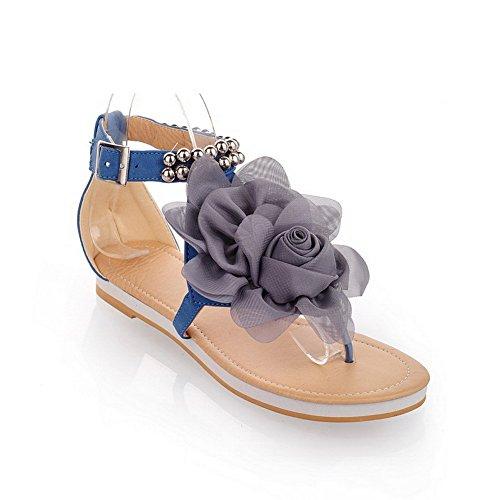 AllhqFashion Mujeres Mini Tacón Sólido Hebilla Sandalias y chanclas con Floriation Azul
