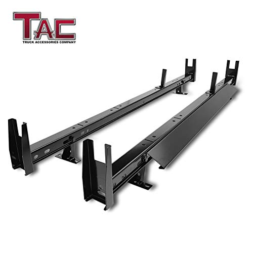 TAC Universal 2 Bars Roof Ladder Rack 600 LBS Capacity Utility Adjustable Cross Bar with Stopper for Van Without Rain Gutter Fit for Kayak Canoe Ladder Lumber Pipes Cargo Carrier Accessories