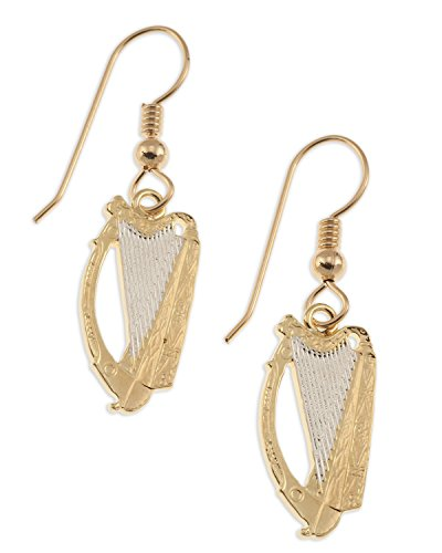 (Irish Harp Coin Earrings, Ireland Harp Coin Hand Cut, 14 K Gold and Rhodium Plated, 3/4 )