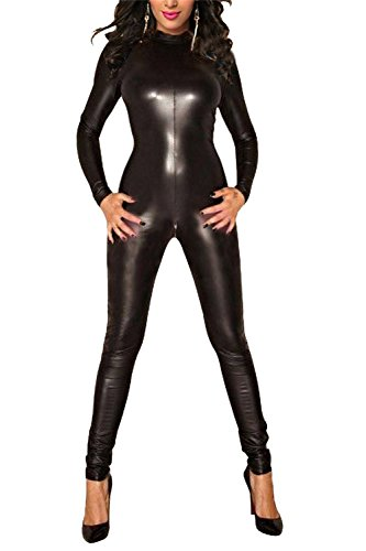 Voglee Women's Sexy Backless Pu Faux Leather Catsuit Teddy Clubwear Jumpsuit (Black Faux Leather Bodysuit)