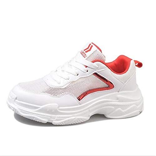ZHZNVX Rojo Punta Flat de Blanca White Zapatos Negro Mujer de de Verano Microfibra Primavera Sneakers Comfort de Heel Cerrado TR1Trxq