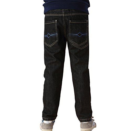 - Leo&Lily Big boys'Husky Whole Rib Waist Fine Denim Black Jeans (14)