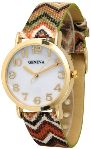Geneva Round Faced Chevron Watch - Earth - Tone Round Faced Watch Shopping Results