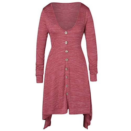 XOWRTE Women's Tops Plus Size, Button Asymmetrical Space Dyed V-Neck Tunic Fashion Long Sleeve Blouse Long T-Shirt