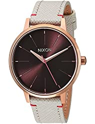 Nixon Womens Kensington Leather Quartz Stainless Steel Casual Watch, Color:Champagne (Model: A1081890-00)