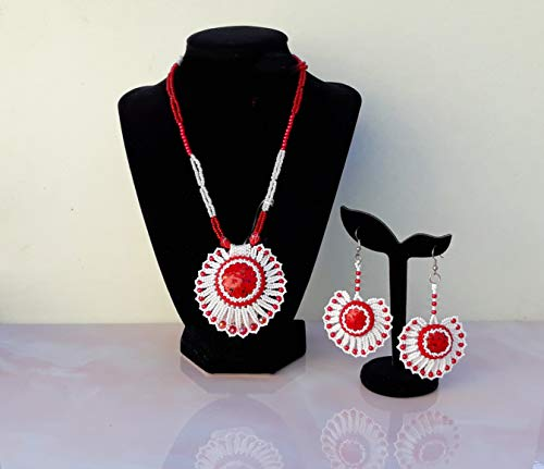 Red and White Handmade Jewelry Set Beaded Pendant Jewelry Box Free Personalised