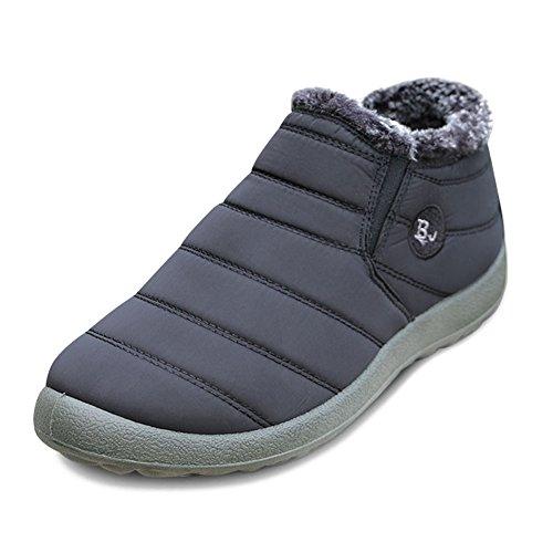 JOINFREE Unisex Warm Plüsch Futter Slip On Flat Ankle Schnee Stiefel Winter Warme Schuhe Schwarz