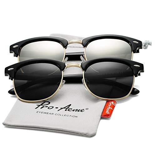 Pro Acme Classic Semi Rimless Polarized Sunglasses with Metal Rivets (Black + Silver ()