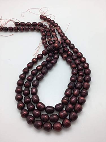 Perfect and Stunning Beads - Cranberry 9-10mm Rice Freshwater Pearls Strand