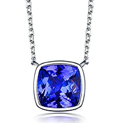 White Yellow Gold Natural Tanzanite Diamond Pendant