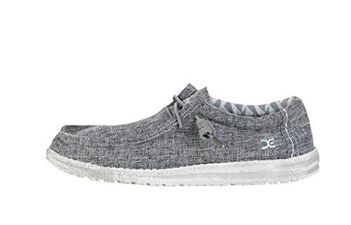 Hey Dude Men's Wally Linen Loafers, Grey, Linen, Canvas, Textile, Memory Foam, 12 US M/EU 45