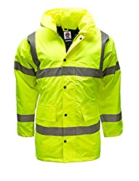 Hi Viz Vis Waterproof Padded Parka Jacket Mens Coat Workwear by WWK / WorkWear King