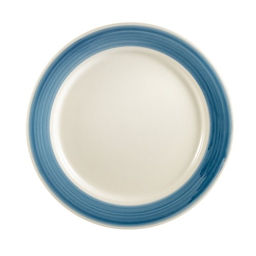 CAC China R-6-BLUE Rainbow Rolled Edge 6-1/2-Inch Blue Stoneware Round Plate, Box of 36